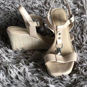 Antonio Melani Nude Thatched Wedge Sandals Size 7